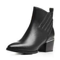 16年秋冬季欧美粗跟短靴头层牛皮马丁靴尖头侧拉链纯色女鞋 黑色