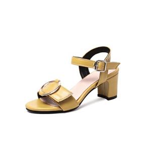 ELEISE美国艾蕾莎新品020-A42-7韩版磨绒高跟粗跟女士凉鞋