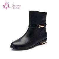 Daphne/达芙妮女靴 冬季马丁靴低方跟优雅尖头侧拉链女短靴子