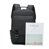 开学双肩包男学院风高中学生书包男士韩版商务休闲旅行背包电脑包 黑色