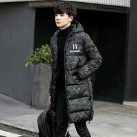 冬装韩版中长款迷彩连帽棉衣男士修身加厚外套青年保暖棉袄潮 绿迷彩 L