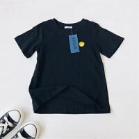 韩国男女童夏季纯棉T恤 儿童黄色笑脸刺绣短袖衫T恤