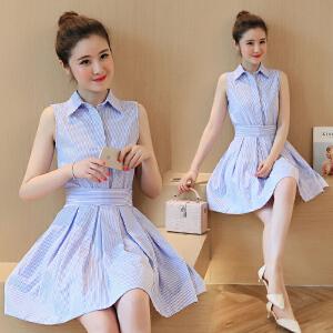 AGECENTRE 2018春装新款 春季新款韩版中长款显瘦蓝色条纹裙子无袖衬衫连衣裙 女