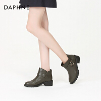 Daphne/达芙妮2017冬新款短靴 潮流个性复古学院金属皮扣低筒靴女