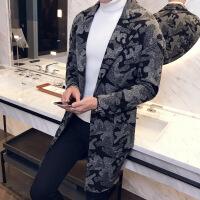 冬季新款男士毛呢大衣韩版修身迷彩呢大衣外套 迷彩色