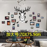 个性鹿头时钟挂钟客厅创意家用大气欧式装饰大号壁挂石英钟 18相框 20英寸(直径50.5厘米)