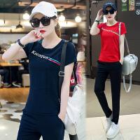 运动套装女春夏季2018新款韩版时尚显瘦跑步服大码短袖休闲两件套