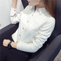 2017秋冬装新款加绒衬衫女长袖韩版打底保暖白色衬衣女学生厚l 白色 S