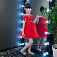 一字肩钢琴演出服蓬蓬裙女童婚纱公主 红色儿童礼服裙短款2018新款