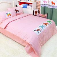 小马床品 儿童床上用品三件套 卡通被罩床单男女孩纯棉韩国四件套 小马 贴布三四件套床品