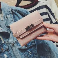 七夕礼物欢乐颂同款2018新款韩版小钱包女短款迷你三折叠多卡位小钱夹 粉色