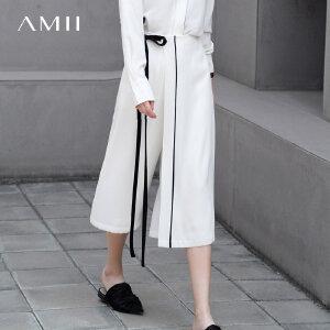 【会员节! 每满100减50】Amii极简法式小香风黑白绑带七分阔腿裤2018夏季新款雪纺七分裤