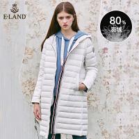 【到手价:799元】ELAND秋冬欧美大气中长款羽绒服外套拼接织带EEJD84T02A