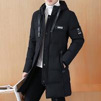 男士冬季棉衣中长款加厚韩版潮流冬装连帽帅气冬天棉袄外套