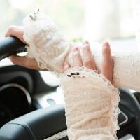 夏天开车女士长款蕾丝防晒手套 夏季袖套 透气 均码