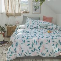 家纺2018新款家纺床上用品小清新系列床单款印花1.51.8全棉四件套 被套200*230,床单230*250,枕套4
