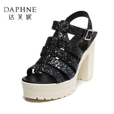 Daphne/达芙妮Vivifleurs 夏优雅闪亮格利特粗跟女凉鞋