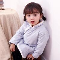 实拍 中式唐装女改良日常女童宝宝加厚加棉棉衣外套旗袍春装