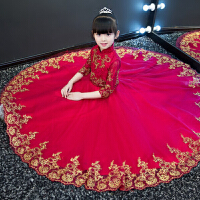 女童旗袍长袖花童钢琴表演中式儿童礼服公主裙演出晚礼服红色冬款 加绒