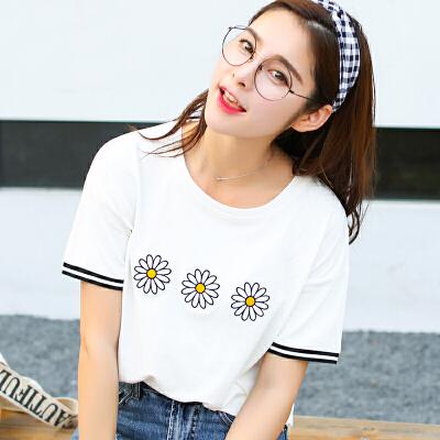 夏季新品百搭宽松刺绣圆领短袖T恤女棉拼接袖短袖显瘦小衫