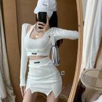 挂脖修身背心包臀高腰短裙防晒长袖短外套夏季女装三件套韩版套装
