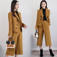 毛呢套装秋冬新款韩版显瘦气质西装女阔腿裤时尚名媛两件套潮