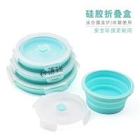 新品圆型折叠硅胶饭盒便当盒微波炉保鲜盒便携硅胶折叠饭盒泡面碗