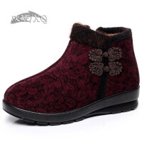 欣清冬季新款老北京布鞋女棉鞋 时尚保暖妈妈女式短靴女平底及踝靴