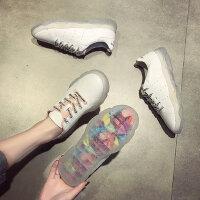 新款百搭女学生小白鞋 韩版女士单鞋 外穿厚底透明休闲运动板鞋女