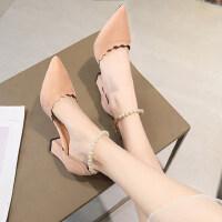 一字跟高跟鞋女户外时尚韩版百搭鞋子尖头浅口粗跟单鞋