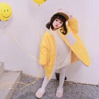 女童中长款棉衣新款冬装儿童夹棉棉袄羊羔毛外套