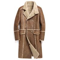 年秋冬新款中长款双排扣立领绵羊皮毛一体皮衣男真皮皮草外套