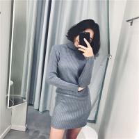 秋冬款针织打底衫中长款修身显瘦包臀毛衣裙女高领紧身性感连衣裙 均码