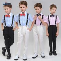 儿童礼服男童背带裤套装主持人表演春结婚花童男小西装钢琴演出服