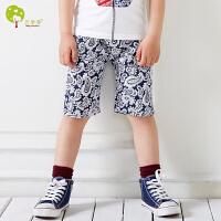 【当当自营】贝康馨童装 男童青花瓷中裤 韩版男童纯棉弹力五分裤护膝盖