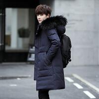 新款冬季长款羽绒服男 中长款反季清仓韩版修身加厚大毛领外套潮