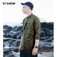 VIISHOW2017秋装新品休闲长袖衬衫男纯棉军绿色文字印花男士衬衣