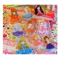 儿童果冻贴画卡通公主水晶贴冰雪宝莉软胶贴可水洗反复用8张