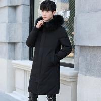 冬装中长款羽绒服男士修身连帽加厚大毛领青年韩版潮流白鸭绒外套 黑色