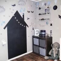 创意家居墙纸贴纸 INS同款 创意定制贴纸小房子黑板贴儿童房装饰墙贴可移除黑色涂鸦贴纸 黑色 高度大概90cm 墙纸不
