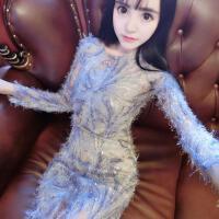 女装秋冬新款潮女 时尚气质羽毛线绣亮片修身显瘦包臀连衣裙