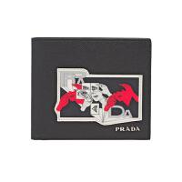 【网易考拉】PRADA 普拉达 男士 Saffiano皮革漫画图案贴花 卡片夹