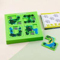 儿童益智动物迷宫升级版1-3-6男女闯关任务挑战形状认知拼图玩具