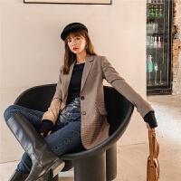七格格修身小西装外套女2019新款冬季韩版格子气质显瘦中长款上衣