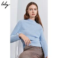 Lily2019冬新款女装气质浅蓝螺纹打底修身羊绒套头毛针织衫8919