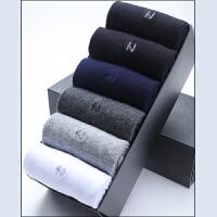男袜子秋冬纯棉商务中筒袜子 吸汗纯色加厚款男士全棉袜中厚 均码