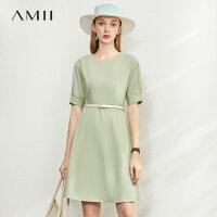 【券后预估价:173元】Amii极简法式优雅短袖连衣裙2020夏季新款修身显瘦泡泡袖A字裙