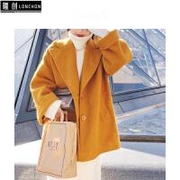 初冬新款韩版女中长款呢子大衣毛呢外套+高领针织连衣裙时尚套装 +