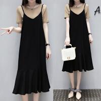 2018夏装新款大码女装胖mm吊带连衣裙套装微胖妹妹洋气减龄两件套 黑色