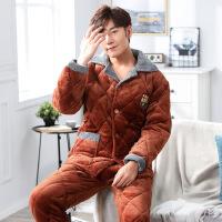 冬季加厚夹棉睡衣 男装三层加厚法兰绒翻领家居服套装